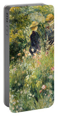 Conversation In A Rose Garden Portable Battery Charger by Pierre Auguste Renoir