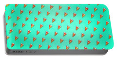 Cool And Trendy Pizza Pattern In Super Acid Green   Turquoise   Blue Portable Battery Charger
