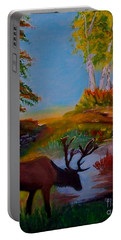 Portable Battery Charger featuring the painting Cool Drink by Leslie Allen