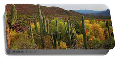 Coon Creek With Saguaros And Cottonwood, Ash, Sycamore Trees With Fall Colors Portable Battery Charger