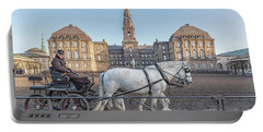 Portable Battery Charger featuring the photograph Copenhagen Christianborg Palace Horse And Cart by Antony McAulay