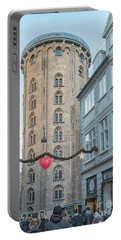 Portable Battery Charger featuring the photograph Copenhagen Round Tower Street View by Antony McAulay