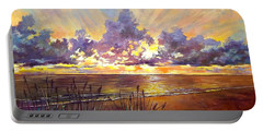 Coquina Beach Sunset Portable Battery Charger by Lou Ann Bagnall