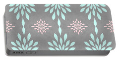 Coral And Turquoise Gray Portable Battery Charger by Inspired Arts