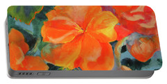 Portable Battery Charger featuring the painting Coral Begonias by Kathy Braud