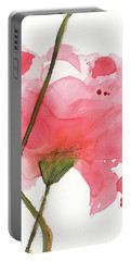 Portable Battery Charger featuring the painting Coral Poppies by Dawn Derman