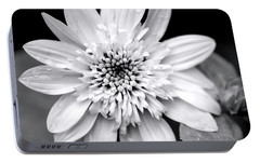 Portable Battery Charger featuring the photograph Coreopsis Flower Black And White by Christina Rollo