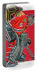 Corey Crawford Chicago Blackhawks Oil Art Portable Battery Charger