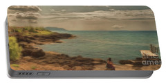 Portable Battery Charger featuring the photograph Corfu 15  - My Lady On The Rocks by Leigh Kemp