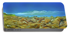 Portable Battery Charger featuring the photograph Corfu 3 - Surreal Rocks by Leigh Kemp
