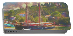 Portable Battery Charger featuring the photograph Corfu 35 Tall Ship In Paxos by Leigh Kemp