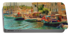 Portable Battery Charger featuring the photograph Corfu 39 - Boats Paxos by Leigh Kemp