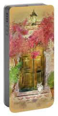 Portable Battery Charger featuring the digital art Corfu Kitty by Lois Bryan
