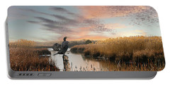 Cormorant At Sunset Portable Battery Charger