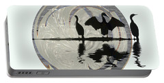 Cormorants Portable Battery Charger by Elaine Hunter