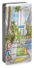 Corner Of Hawthorn And Formosa In Hollywood, California Portable Battery Charger