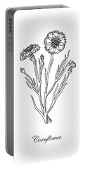 Cornflower Botanical Drawing Portable Battery Charger