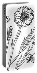Cornflowers And Bee Drawing  Portable Battery Charger