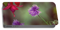 Cornflowers And Fuschia Portable Battery Charger by Bonnie Bruno