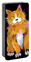 Portable Battery Charger featuring the painting Cornmuffin Dizzycat by DC Langer