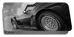 Portable Battery Charger featuring the photograph Corvette Daytona In Black And White by Gill Billington