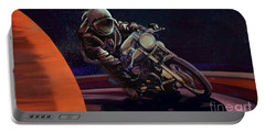 Portable Battery Charger featuring the painting Cosmic Cafe Racer by Sassan Filsoof