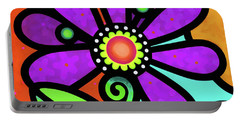 Cosmic Daisy In Purple Portable Battery Charger