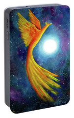 Cosmic Phoenix Rising Portable Battery Charger by Laura Iverson