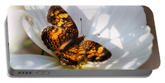 Pearl Crescent Butterfly On White Cosmo Flower Portable Battery Charger