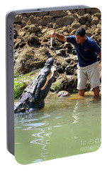 Costa Rica Crocodile 3 Portable Battery Charger by Randall Weidner