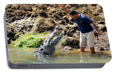 Costa Rica Crocodile 4 Portable Battery Charger by Randall Weidner