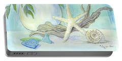 Cottage At The Shore 1 White Hydrangea Bouquet W Driftwood Starfish Sea Glass And Seashell Portable Battery Charger