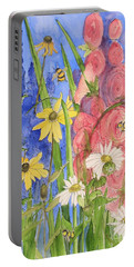 Cottage Garden Daisies And Blue Skies Portable Battery Charger