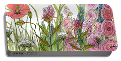 Cottage Hollyhock Garden Portable Battery Charger