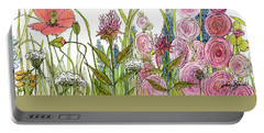 Cottage Hollyhock Garden Portable Battery Charger by Laurie Rohner