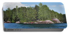 Portable Battery Charger featuring the painting Cottage View Silver Lake by Kenneth M Kirsch