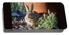 Cottontail Rabbit In The Garden Portable Battery Charger