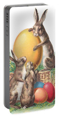 Portable Battery Charger featuring the digital art Cottontails And Eggs by Reinvintaged