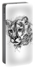 Portable Battery Charger featuring the mixed media Cougar Head Black And White by Marian Voicu