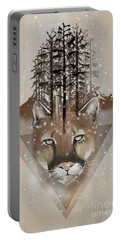 Portable Battery Charger featuring the painting Cougar by Sassan Filsoof