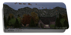 Portable Battery Charger featuring the digital art Country Church Autumn At Twilight by Methune Hively