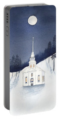 Country Church In Moonlight 2, Silent Night Portable Battery Charger