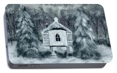 Portable Battery Charger featuring the digital art Country Church On A Snowy Night by Lois Bryan