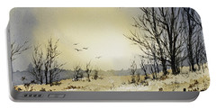 Portable Battery Charger featuring the painting Country Dawn by James Williamson