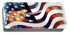 Country Music Guitar And American Flag Portable Battery Charger