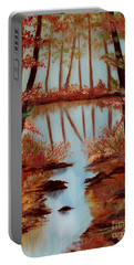 Portable Battery Charger featuring the painting Country Reflections by Leslie Allen