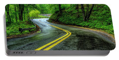 Country Road In Spring Rain Portable Battery Charger