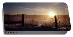 Country Winter Sunset Portable Battery Charger