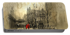 Portable Battery Charger featuring the painting Couple In City by Tithi Luadthong