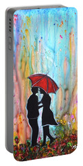 Couple On A Rainy Date Romantic Painting For Valentine Portable Battery Charger